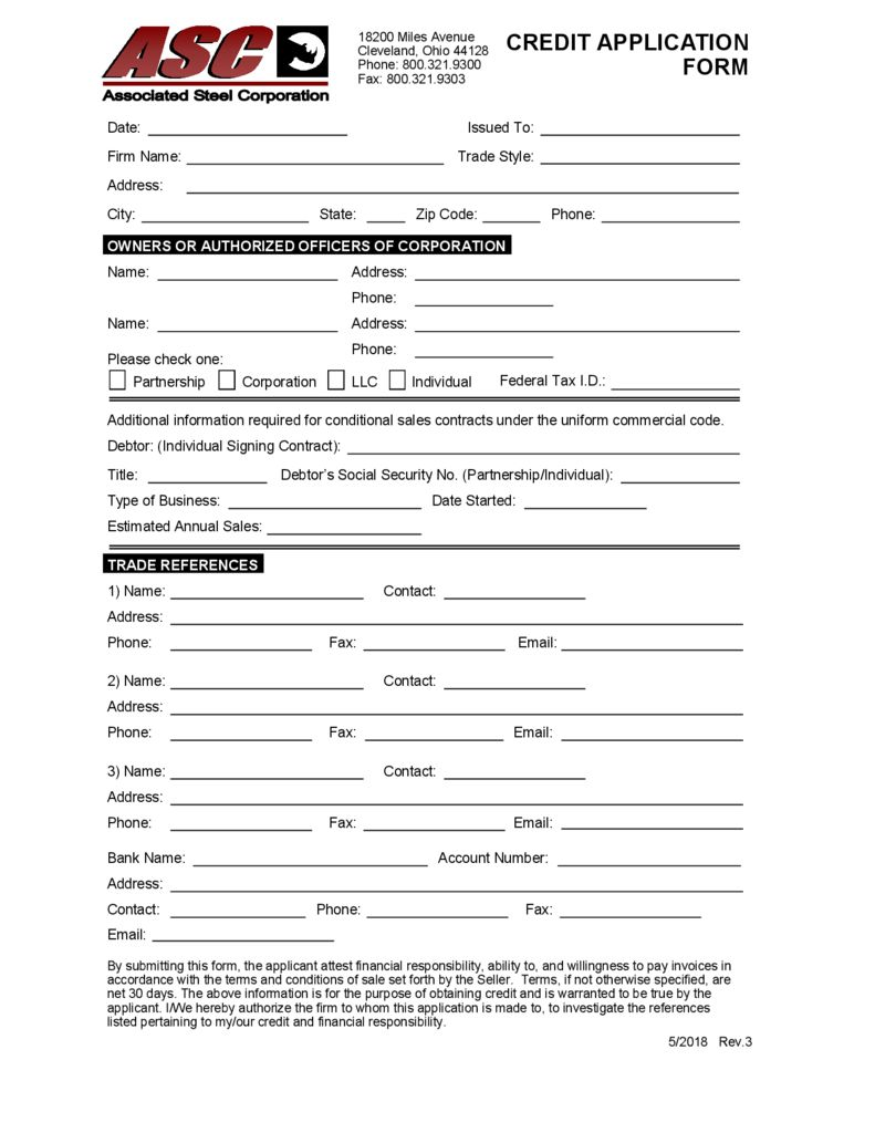 thumbnail of Associated Steel Credit Application
