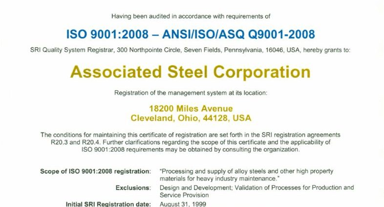 thumbnail of ISO Certificate Associated Steel Corporation