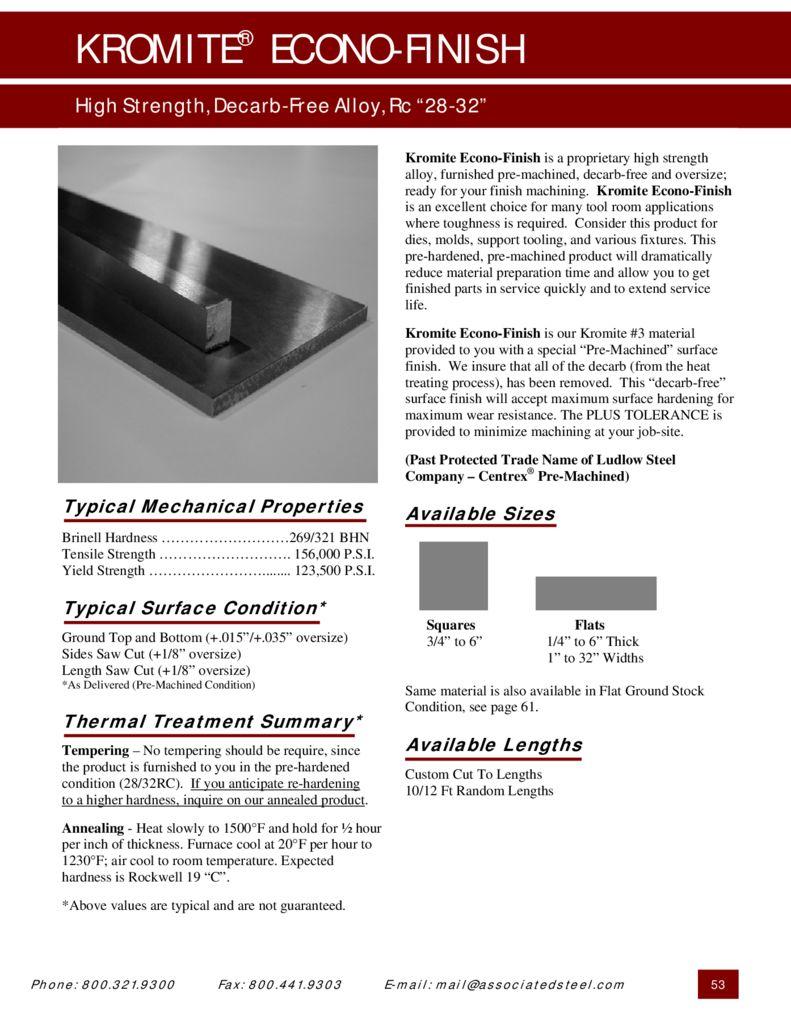 Kromite Econo-Finish PDF – Associated Steel Corporation
