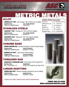 List of Metric Sizes Supplied by Associated Steel Corporation