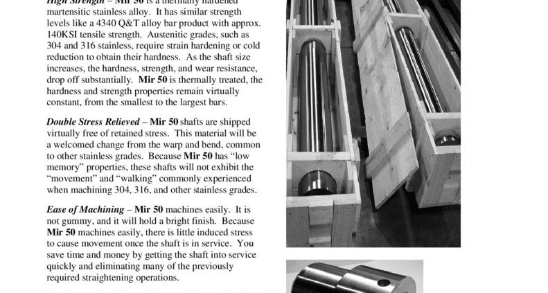 thumbnail of Mir-50 Stainless Shafting